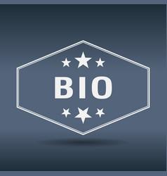 Bio hexagonal white vintage retro style label vector