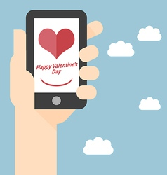 Happy valentines day on mobile vector