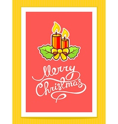 Christmas candles with white hand written vector