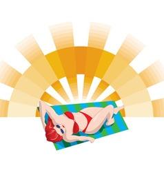 Sunbather girl red bikini vector