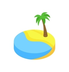 Tropical beach with palm isometric 3d icon vector