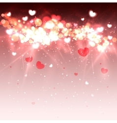 Glow soft hearts valentines day background vector