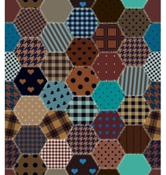 Brown patchwork hexagon vector