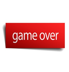 Game over red paper sign on white background vector