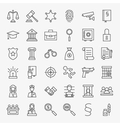 Law and justice line art design icons big set vector