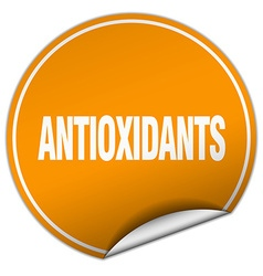 Antioxidants round orange sticker isolated on vector