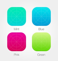 App icon template set with guidelines fresh colour vector