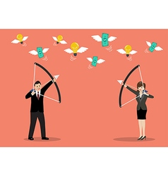Business man and woman try to shoot the money fly vector