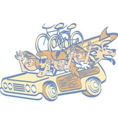 Cartoon family in a car vector image