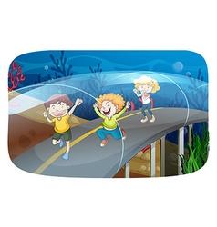 Children running in the tunnel vector