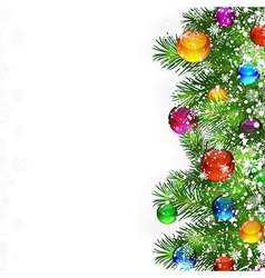Christmas decorated branches background vector image vector image