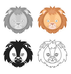 Circus lion icon in cartoon style isolated on vector