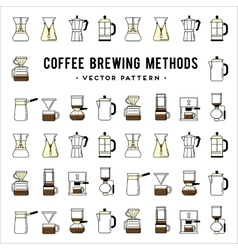 Coffee brewing methods pattern Different ways of vector image vector image