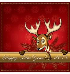 Cristmas deer card 3 vector image