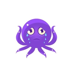 Crying Funny Octopus Emoji vector image vector image
