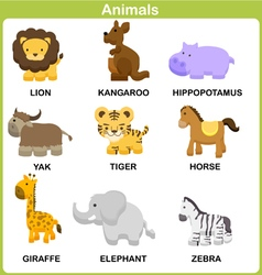 Cute Set of Animal for kids Flat design vector image