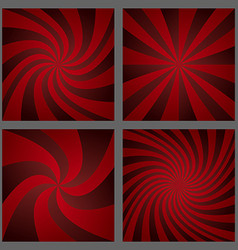 Dark red spiral ray and starburst background set vector image