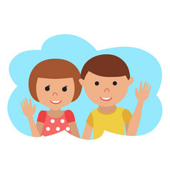 drawing of icon little boy and girl in the vector image