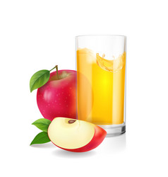 Glass of apple juice with slices of red apple vector