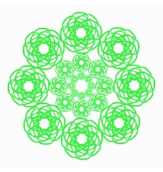 Green line flower circular pattern on white vector image