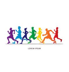group of people running marathon vector image vector image