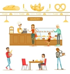 Interior design and happy clients of a bakery set vector