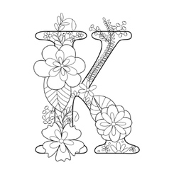 Letter K coloring book for adults vector image