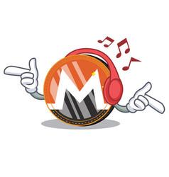Listening music monero coin character cartoon vector