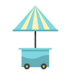 Mobile cart with blue umbrella icon isolated vector