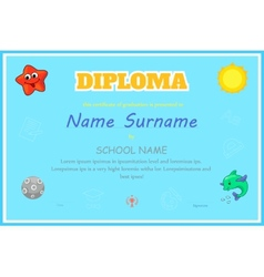 Preschool kids diploma certificate design template vector
