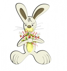 rabbit with forest flowers vector image