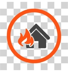Realty Fire Damage Flat Rounded Icon vector image