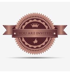Retro invitation badge and label vector image
