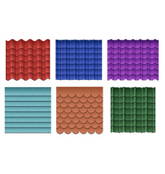 Roof tiles roofing materials set vector