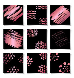 set of pink ink brushes grunge square patterns vector image