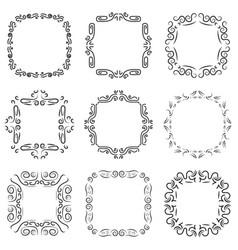 vintage frame decoration set vector image vector image