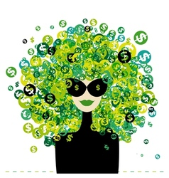 Woman portrait with dollar signs hairstyle for vector image vector image