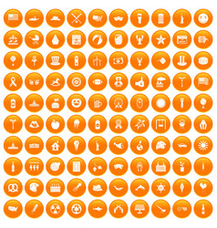 100 summer holidays icons set orange vector