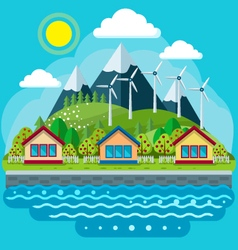Safe green energy concept in a flat style vector