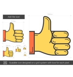 Add like line icon vector