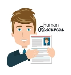 Character man with cv human resources vector