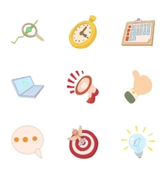 Internet setup icons set cartoon style vector