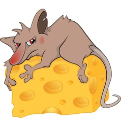 Rat and cheese piece cartoon vector