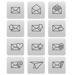 Envelope icons for email on gray squares vector