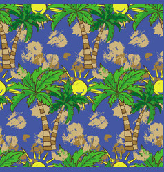 seamless pattern with palm trees summer print vector image