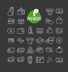 Different payment icons collection web and mobile vector
