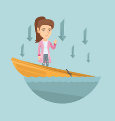 Caucasian business woman standing in sinking boat vector