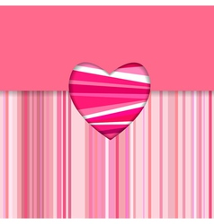 Valentine striped card horizontal vector