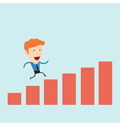 Businessman run in a bargraph vector
