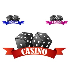 Casino dice symbol or badge with dice vector